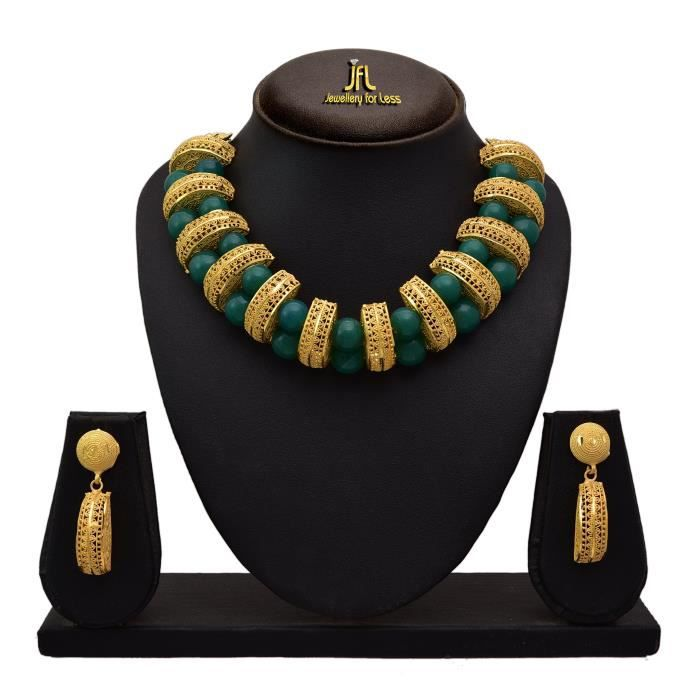 Traditionnel ethnique des femmes un gramme dor plaqué en spirale Perle Ensemble collier avec boucles doreilles pourUQPSN