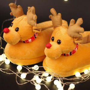 Pantoufles Femmes Hommes en peluche Hiver Cerf de Noël Adulte Chaussons doux et chauds Casual BDG-XZ140Marron37 aiSpODYYB