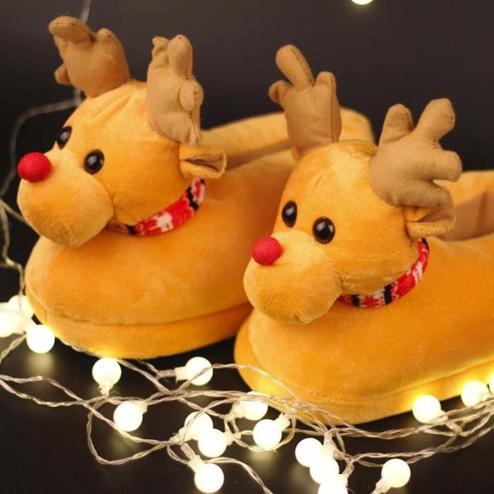 Pantoufles Femmes Hommes en peluche Hiver Cerf de Noël Adulte Chaussons doux et chauds Casual JXG-XZ140Jaune36 fr9FF
