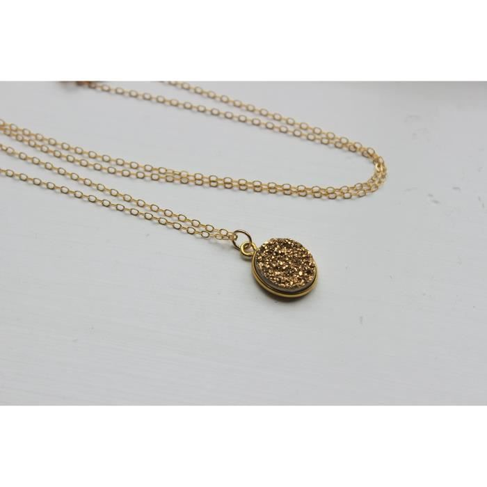 Womens Gold Druzy Necklace Oval Pendant Jewelry, 14k Gold Filled Chain, 18 Q8QL1