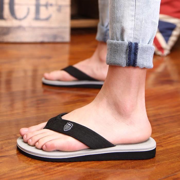 Homme tongs Meilleure Qualité hommes de chaussures d'été sandales Antidérapant pantoufle plage sandals de marq dssx135jaune43 E3Yo4