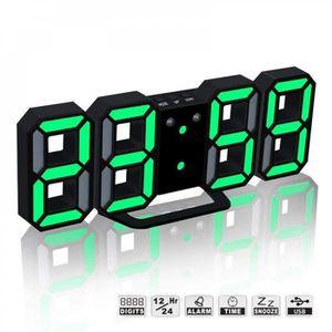 Horloge murale-noir vert-LED Numérique Alarme Chiffres 3D 8 Forme ...