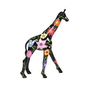 STATUE - STATUETTE Statue en résine girafe Peace and love multicolore