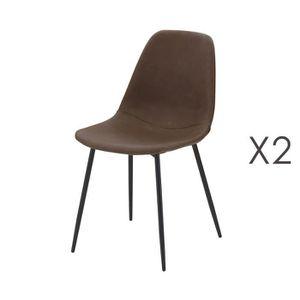 CHAISE Lot de 2 chaises repas en PU marron - INDUSTRIO 7066004a242d