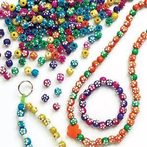 8b47bcb5e784 Lot de 200 Perles en Bois Peintes - Motif Fleurs - Idéal pour la création  de porte clef, de pampilles