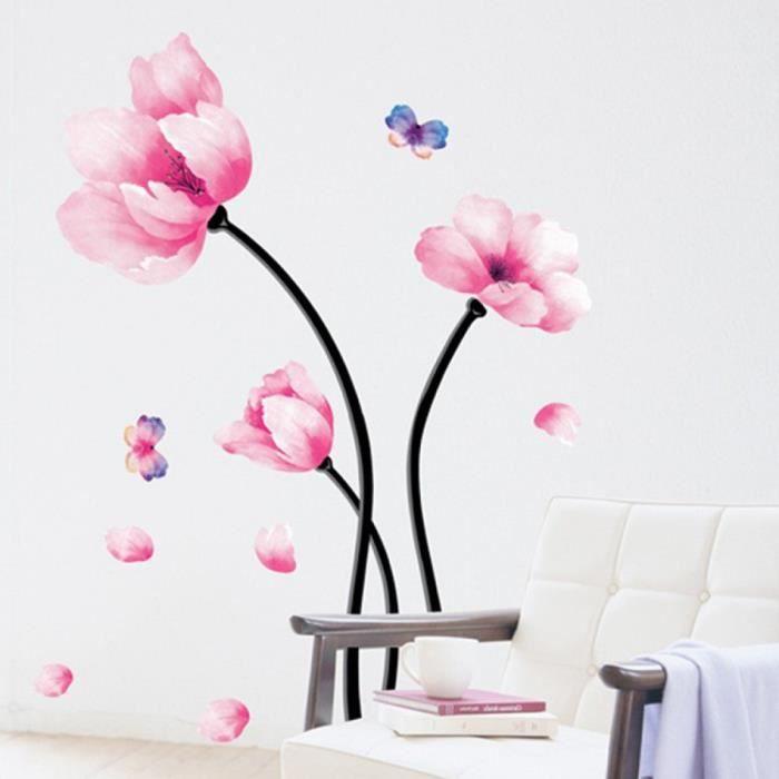 Aquarelle fleur stickers muraux salon chambre tv fond - Stickers muraux salon ...