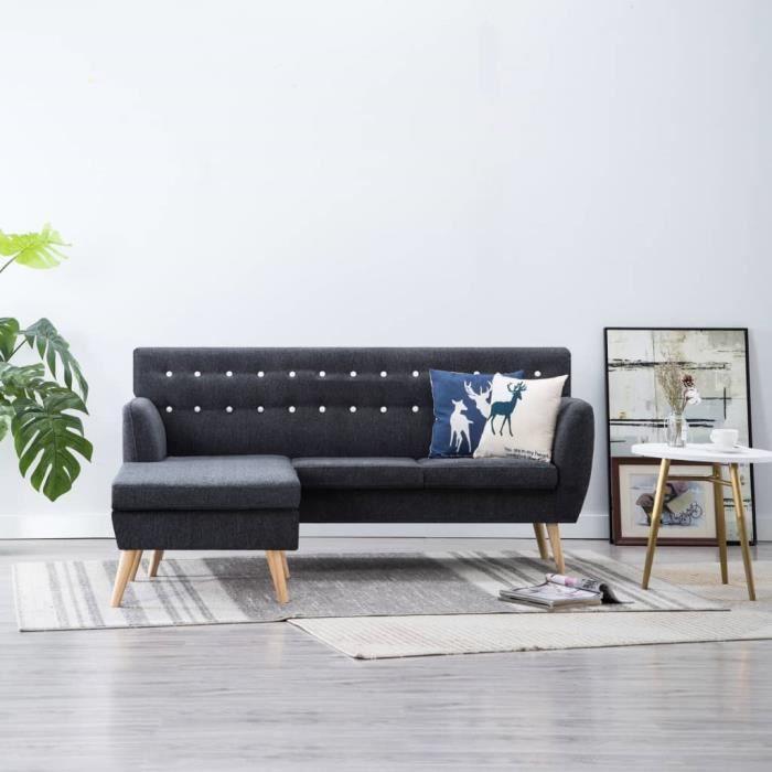 KKmoon Canapé d\'angle canapés de salon confortable canapé moderne gris  foncé 171,5 x 138 x 81,5 cm
