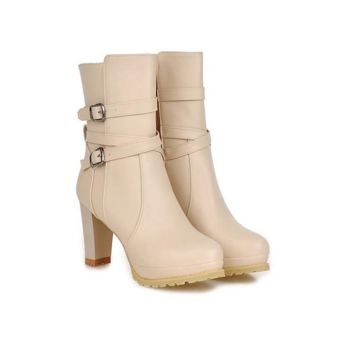 bottes courtes-Pure Color Thick Heel Women Platform Bottines avec une fermetureclair