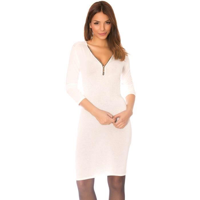 9a33c6233d9 Miss Wear Line - Robe mi-longue blanche à manche longue et col v à zip  ajustable
