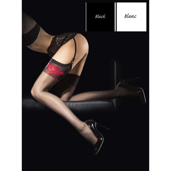 Bas Voile Femme Pour Porte Jarretelle Den Noir Blanc BLANC Achat - Femme en porte jarretelle