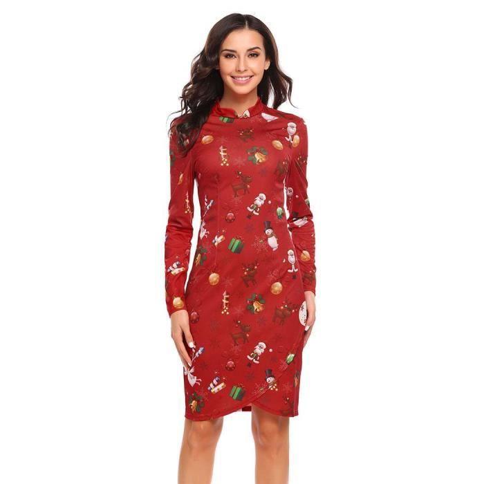 b0747be4759 Robe longue femme col haut à manches longues imprimé imprimé de Noël  fermeture à glissière
