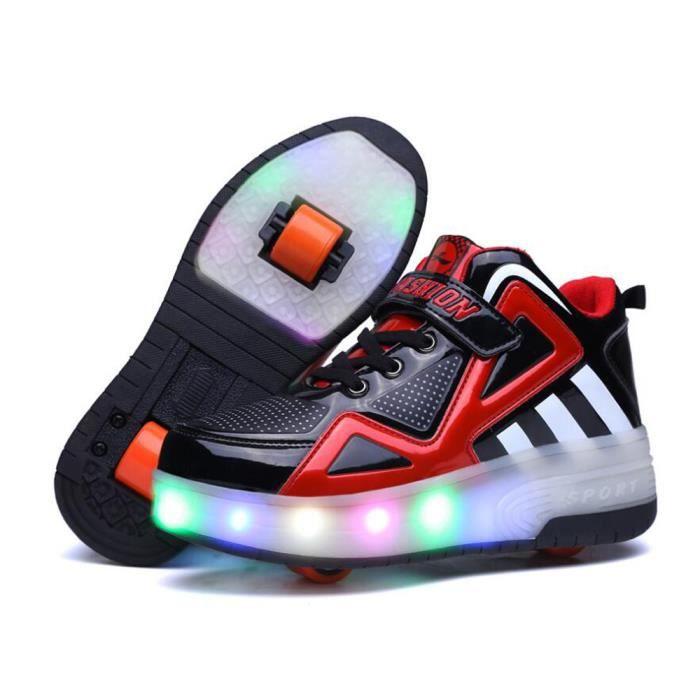 Chaussures Heely roulette enfant LED lumiere une roue Basket garçon fille - Noir