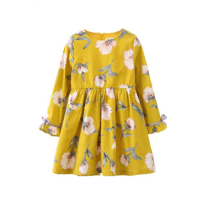 manches longues fille robe à fleurs o cou enfants vêtements