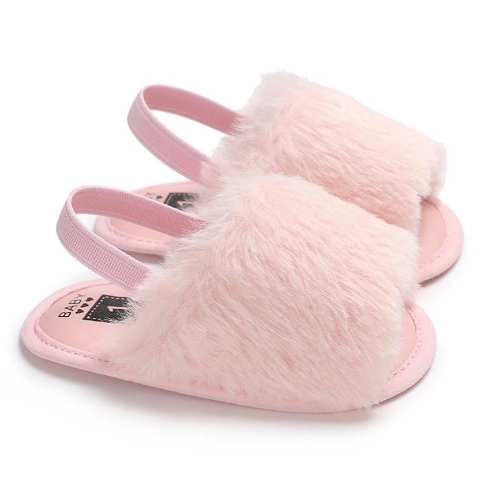 a4f80b9ec1a Chaussures Sandales Pantoufles à fourrure nouveau-né bébé Rose 21 ...