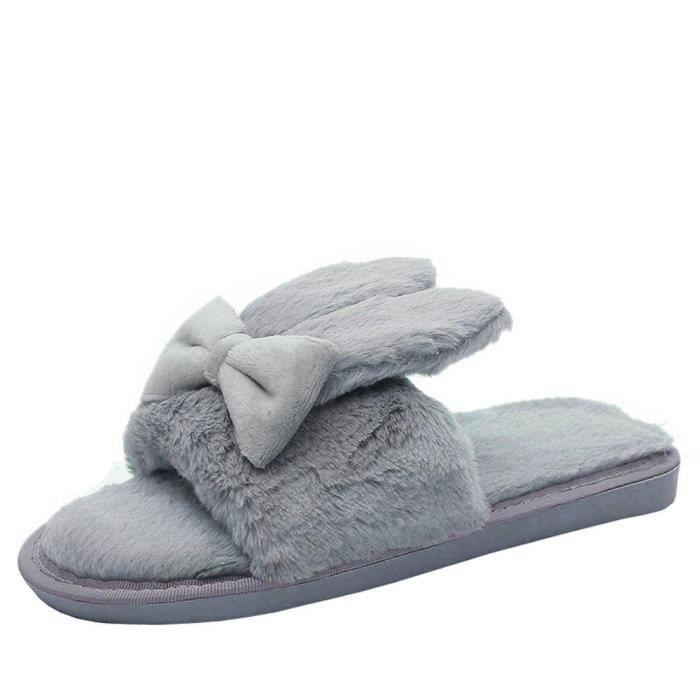 Chaussures L'intérieur Fausse À D'hiver Maison gris Chaude Fourrure Femmes Chaussons TAWI4x