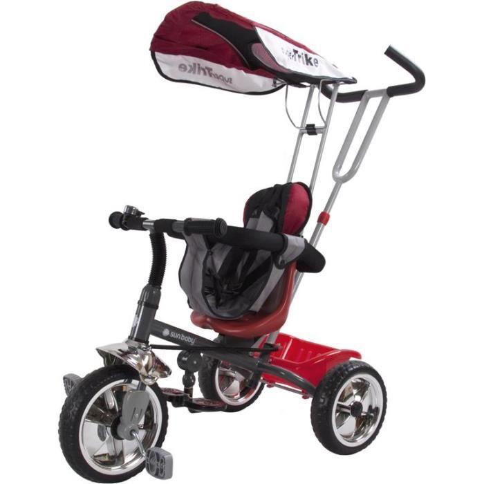 super trike convertible tricycle poussette enfant fille avec poign de pouss e panier rouge. Black Bedroom Furniture Sets. Home Design Ideas