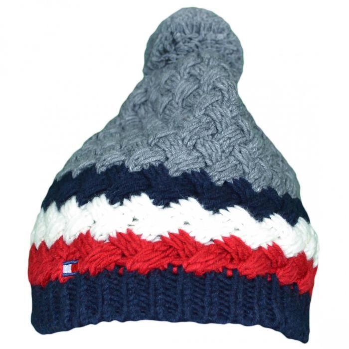 93b4519c2c1 Bonnet tricoté Tommy Hilfiger gris en laine pour homme - Couleur  Gris -  Taille  TU