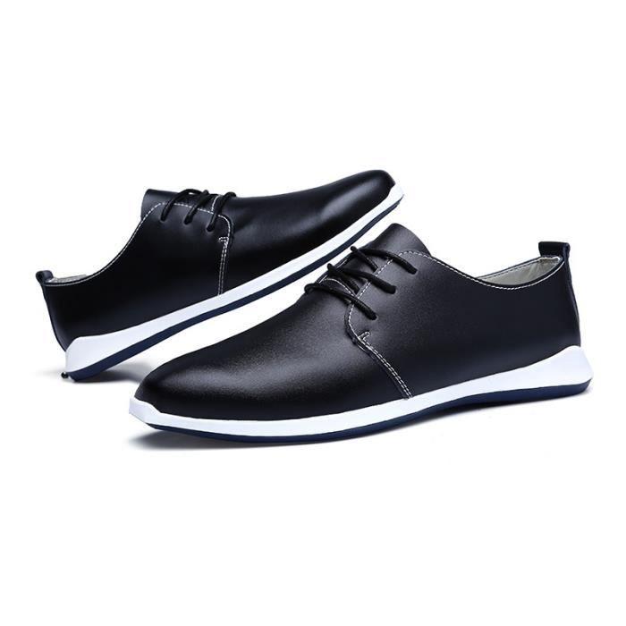 Mode Chaussures de conduite en cuir pour homme (noir, bleu, brun) Taille: 38-47,noir,12