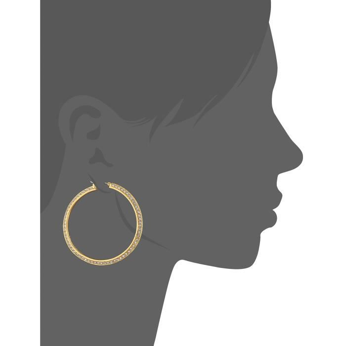 Vince Camuto Womens Gold And Crystal Hoop Earrings KHJN8