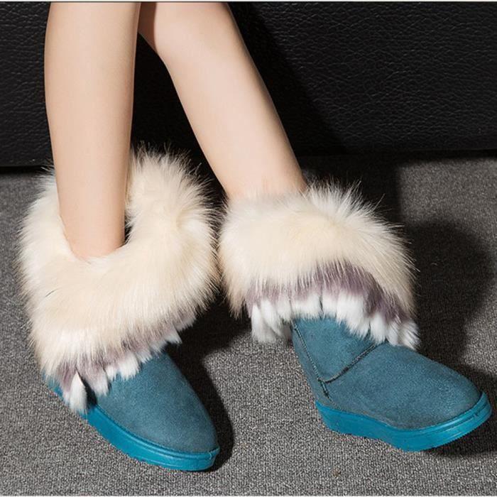 Femmes plates cheville bottes de neige fourrure bottes hiver chaud chaussures de neige ffL4i