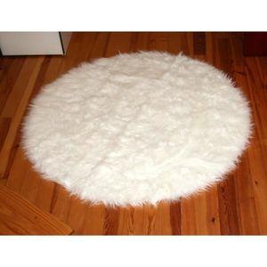 tapis rond en peau de mouton synth tique blanc fa on. Black Bedroom Furniture Sets. Home Design Ideas