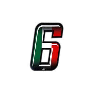 ACCESSOIRE CASQUE Nombre de Course 6 Fin, Drapeau Italien, 10 x 6,5
