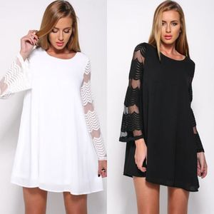 ROBE Robes Femme Col Rond Fil Net Manches Longues