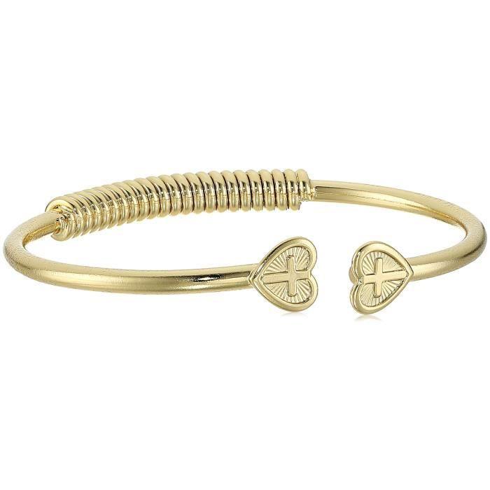 1928 Jewelry Heart Cross Coil Spring C-cuff Bracelet I612U
