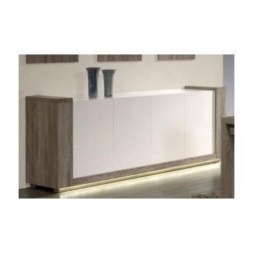buffet bahut led blanc laqu et bois cendr julio achat vente buffet bahut buffet bahut. Black Bedroom Furniture Sets. Home Design Ideas