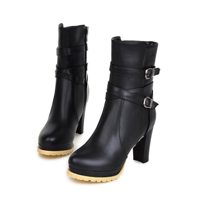 bottes courtes-Pure Color Thick Heel Women Plat...