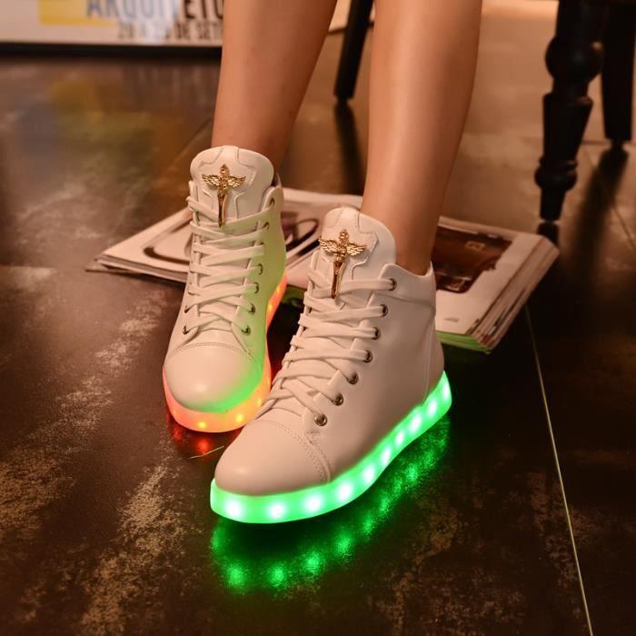 Chaussures colorées conduit feux clignotant usb charge modèles féminins haut-dessus baskets à lacets gM4QDznft0
