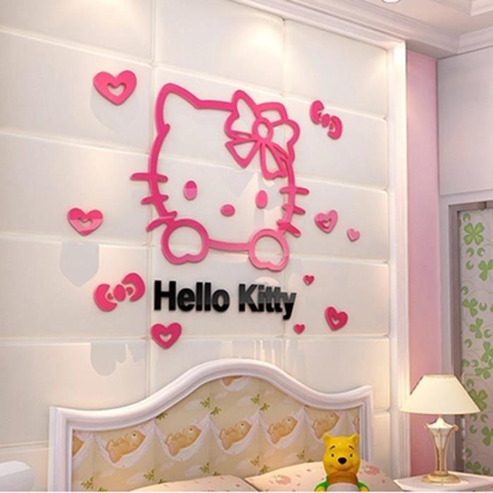 MALKRIS®3D Hello Kitty Diy Mur Des Autocollants Pour Enfants Chambres  Chambres Acrylique Charmante Autocollants De Décoration