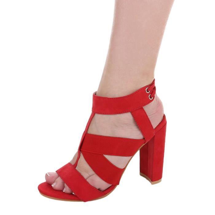 Chaussures femme sandale à talons hauts High Heels escarpin avec lacer rouge 41