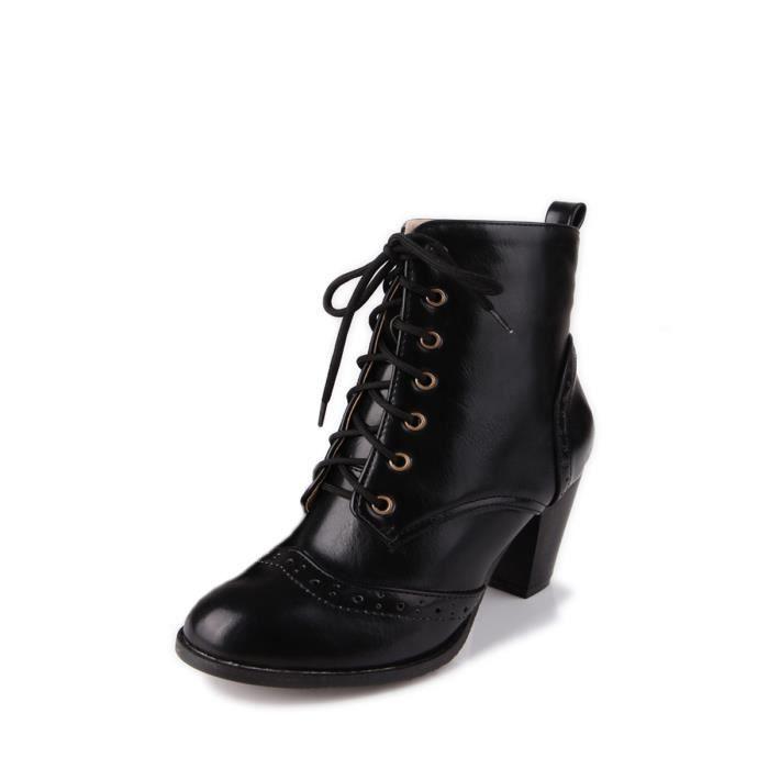 Bottes Vintage femmes Pointu dentelle orteil style britannique épais  Chaussures à talon 5876138