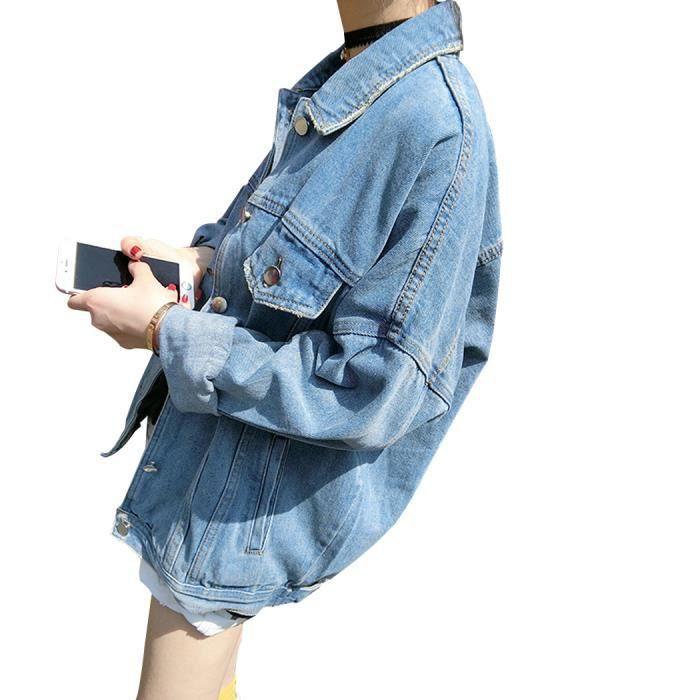 f04cfcbe8649a Bleu clair Blouson Femme en Denim Veste Jean Jacket Demi-longue Oversize  Boyfriend Boutonné Casual Printemps-Automne Grande Taille