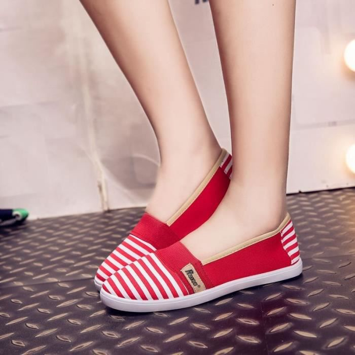 toile Slip pour Mode les On de Chaussures féminine plates été Chaussures 4 respirables 5 femmes noir qxxSnwHXB