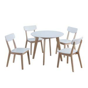 salle manger ensemble de table ronde de 90 cm avec 4 chaises bo