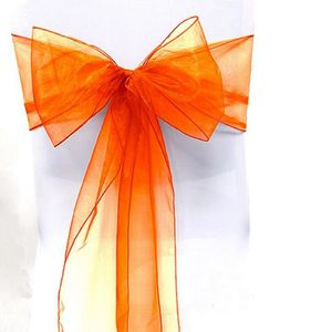 TULLE - NOEUD - RUBAN 25pcs Organza Noeud Chaise Orange Tulle Déco Maria