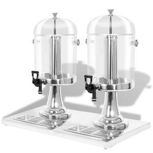 DISTRIBUTEUR DE BOISSON Double distributeur de jus en acier inoxydable 2 x