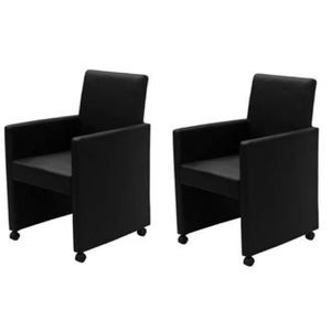 FAUTEUIL 2 fauteuils à roulettes noir