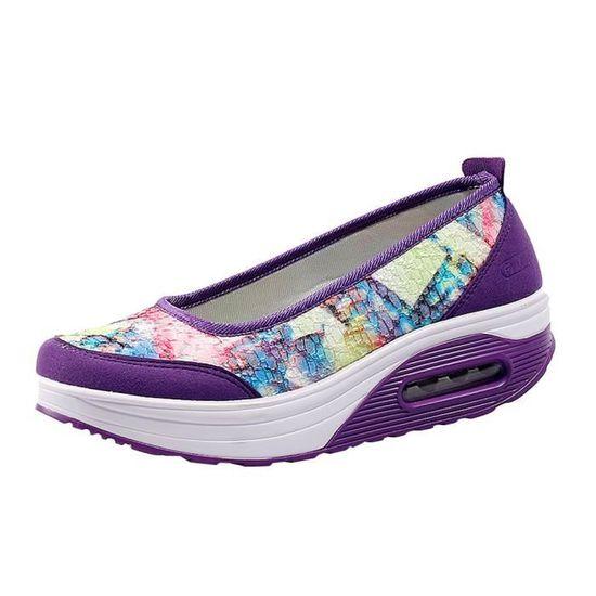 Chaussures en cuir pour femmes Chaussures de Chaussures mode Slip On Leisure Chaussures de paresseuses Sandales confortables@Noir Violet Violet - Achat / Vente slip-on 64a1fe