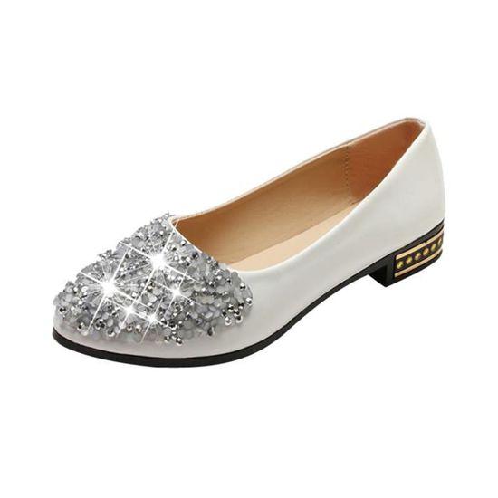 Femmes Bouche Peu Profonde Couleur Pure Bout Carré Slip On Chaussures à Talons Épais@Beige_gg Blanc Blanc - Achat / Vente slip-on