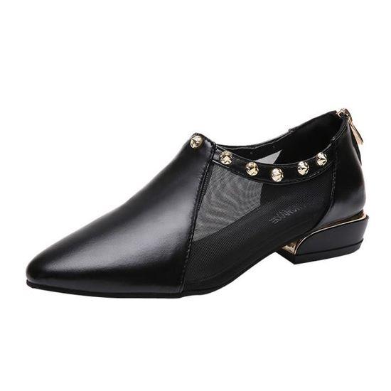 Femmes Couleur unie Shallow Square Toe Slip On Chaussures à talon plat Chaussures simples@Noir   HEXQ q613 Noir Noir - Achat / Vente slip-on