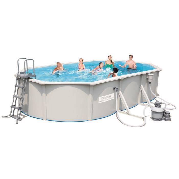 BESTWAY Kit Piscine ovale Steel Wall Pool - 6,10x3,60x1,20m