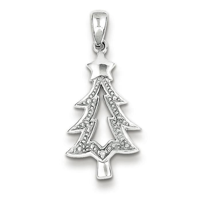Argent Sterling Rhodium plaqué diamant pendentif arbre de Noël