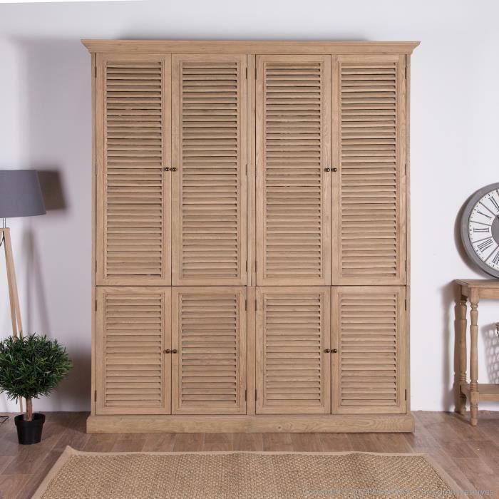 Armoire en chêne avec portes persiennes Longueur 200cm ASPEN- - Achat / Vente armoire de chambre ...