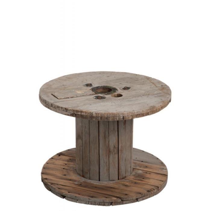 Table Basse Bobine En Bois Naturel 63x63x41cm Achat Vente Table