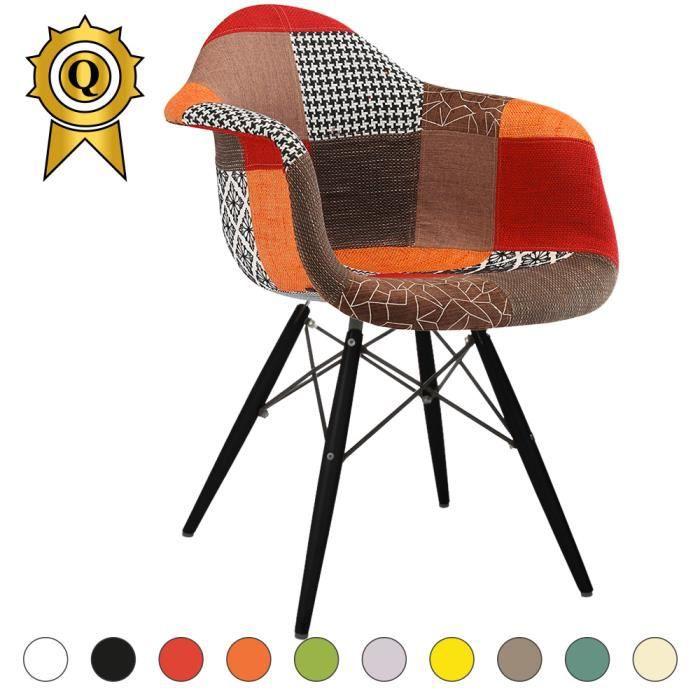 Design Retro Fauteuil.1 X Fauteuil Design Retro Inspiration Eames Daw Pieds En Bois Noir Assise Patchwork Automne Mobistyl