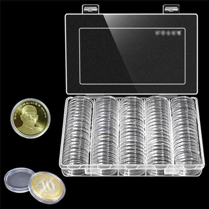 baqi boite de rangement pour pi ce monnaie 30mm souvenir capsule plastique coin collection clair. Black Bedroom Furniture Sets. Home Design Ideas
