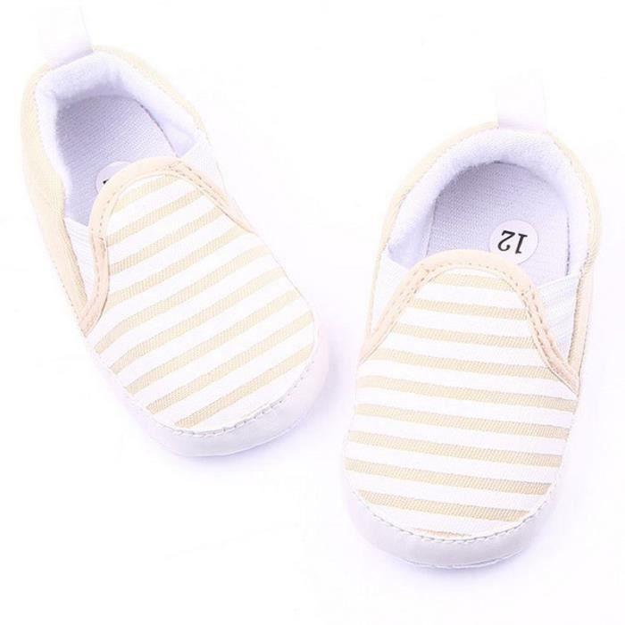 1paire chaussure chausson en toile rayée souple première âge pour bébé enfantcouleur kaki taille 3-5mois